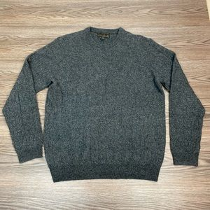 Jos A Bank Reserve Grey Cable Knit Sweater L